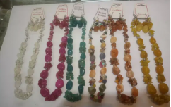 Natural gemstone necklace with earrings