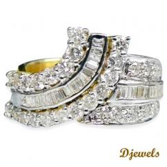 Three Diamond Line Ring For Girls