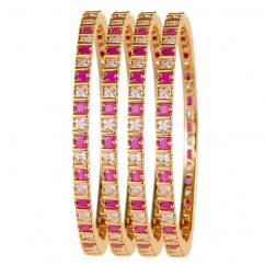 Gold Plated Traditional Designer Ruby Ad Stone Bangles