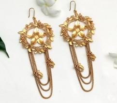 GOLD TONED FOLIAGE DROP EARRINGS