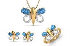 Asmara Blue Topaz & Diamond Pendant Set