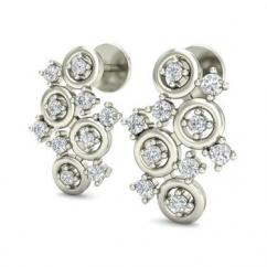 Cukie 026Ct Lab Created Diamond Designer Stud Earrings
