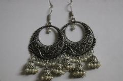 White Jhumka Earrings