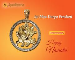 Jai Maa Durga Pendant In Gold With Diamonds