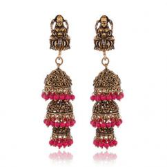 Gold Peach Stone Earrings