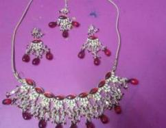 Party Wear Necklace With Red Stone