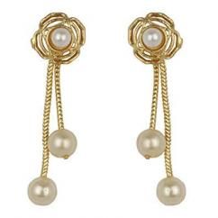 Artificial Gold Earrings With Pearls