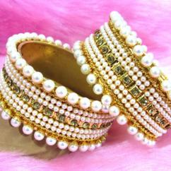 Designer Kada With Pearls And Stones