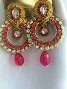 Designer Earrings With Pink Stones