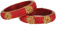 Designer Kada With Red Stones Available