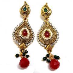 Fancy Kundan Earrings In Heavy Design