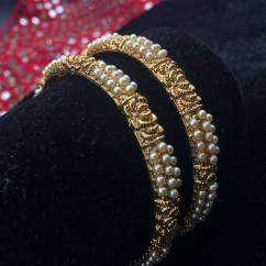 Kada With Pearl Designing Available