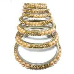 Fancy Bangles With Pearl Available