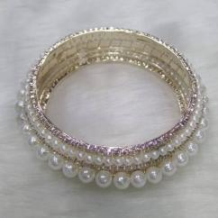 Very Beautiful Kada With Pearls And American Diamond