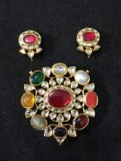 Colourful Kundan Earrings With Ring