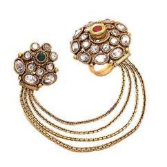 Kundan Ring in chain style