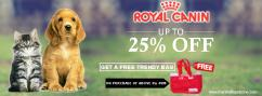 Wow Upto Twenty Five Percent OFF Royal Canin  Free Trendy Bag