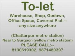 all type shop basement office-space for rent in chattarpur