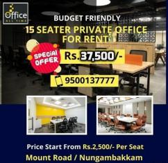Shared office space for rent at Chennai.
