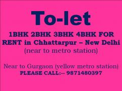 flat for rent in chattarpur please call 9871480397