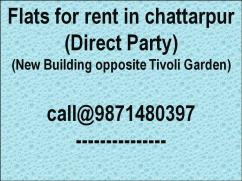 2 bhk flat for rent in chattarpur please call 9871480397