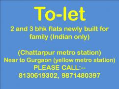 2bhk flat for rent in chattarpur