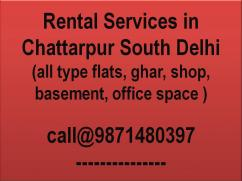 3bhk flat for rent in chattarpur plz call 9871480397