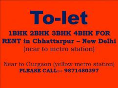 1bhk 2bhk 3bhk for rent near to metro  station chattarpur