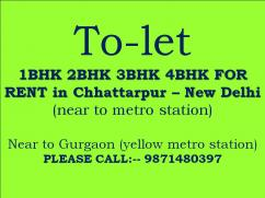 2bhk flat for rent in chhattarpur please call me 987148O397