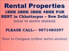 flat for rent in chattarpur please call for more information