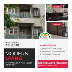 2BHK for rent in HSR Layout Bangalore