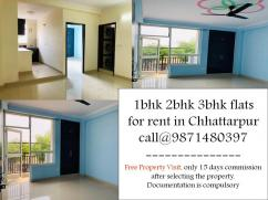 3bhk or 2bhk flat on rent in chattarpur by owner