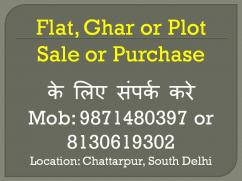 2bhk flat for rent in chattarpur near to metro station