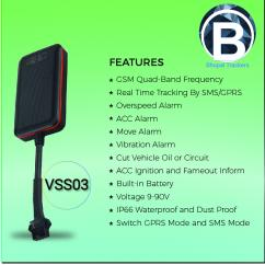 Wireless VSS03 GPS Vehicle Trackers with long stand-by battery