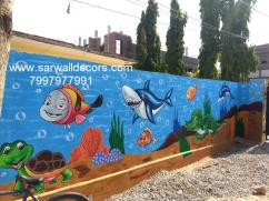 colourful wall painting in play school in Hyderabad