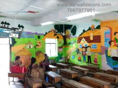 Excelent school wall mural Art painting in Hyderabad