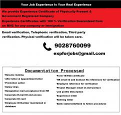 Experience certificate provider in Bangalore with verification