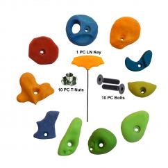Adventure Rocks Climbing Holds 10 Pieces Set T-Nut, Bolt, LN Key