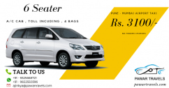 Pune to Mumbai Airport Cab Innova Rs. 3100 Pawar Travels