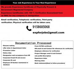 Experience certificate provider in Kolkata with verification