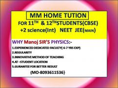 PHYSICS HOME TUITION FOR 11TH & 12TH  NEET IN BBSR 8093611536