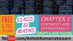 Continuity and Differentiability Class 12 Maths NCERT Solutions