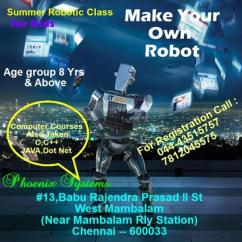 robotic class and training for kids for summer in chennai