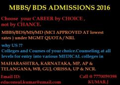 MBBS & BDS ADMISSIONS 2016